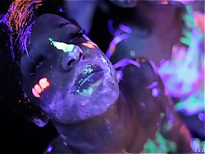 hot lesbians frolicking with fluorescent assets paint
