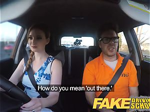 faux Driving school Nerdy ginger-haired teenager college girl