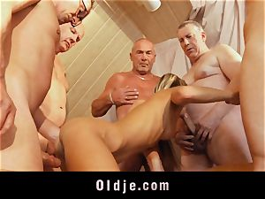 elderly school gang bang featuring thin youthful platinum-blonde