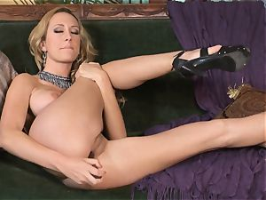 huge-chested towheaded Brett Rossi drains in stellar red lace