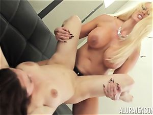 Alura Jenson poon crammed with strap-on strong muscled doll Brandi May