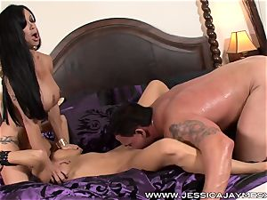 brown-haired three-way Jessica Jaymes and clitties Jade