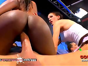 black stunner Zara lean Aymie and Mia cockslut in massive Ogy