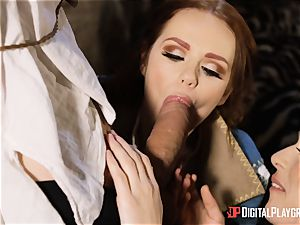 stunners Ella and Olive fantasy poke with monster spunk-pump