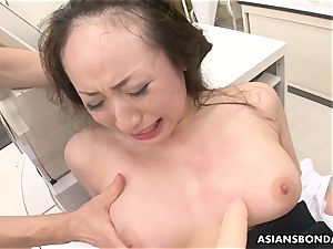 Getting her raw slit pumped and she gets plaything screwed