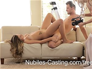 Latina teen turns casting shoot into red-hot three way