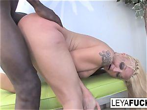 blond hottie Leya takes on a yam-sized dark-hued manstick