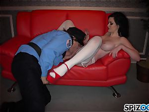 insane dark-haired Kendall Karson romped by policeman in the stripclub