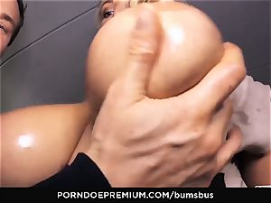 asses BUS stunner with ginormous hooters screwed deep in van