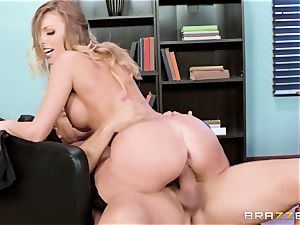 passionate whorish office bitch Britney Amber gets disciplined by her stringent chief