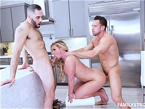Phoenix Marie gets a hot threeway at the dinner table