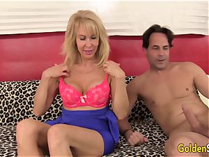 wonderful towheaded granny Erica Lauren spreads Her legs for a thick shaft