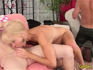 four wild elderly fucksluts Work Their gullets and poons in a sizzling Mature romp
