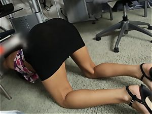 Office hottie Chloe Amour deep throats and pummels pov
