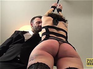 magnificent british skank ball-gagged and dommed by huge bone
