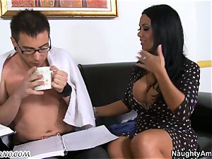 My kind, caring professor accepts my youthful pecker in her mature vag