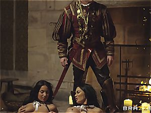 Alluring Anissa Kate and Jasmine Jae obey the king's will and chisel